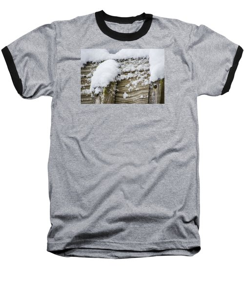 Baseball T-Shirt featuring the photograph Snow Fluff And Woodgrain by Deborah Smolinske