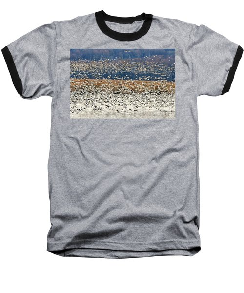 Baseball T-Shirt featuring the photograph Snow Geese At Willow Point by Lois Bryan