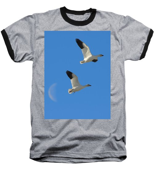 Snow Geese Moon Baseball T-Shirt