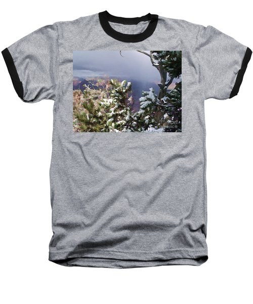 Baseball T-Shirt featuring the photograph Snow In The Canyon by Roberta Byram