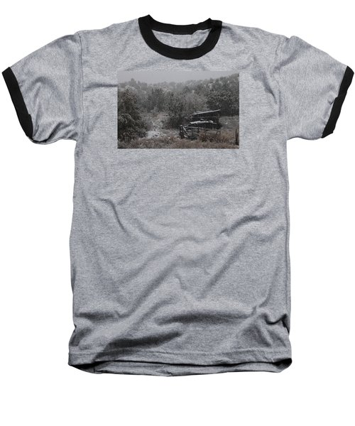 Snow In The Old Santa Fe Corral Baseball T-Shirt by Christopher Kirby