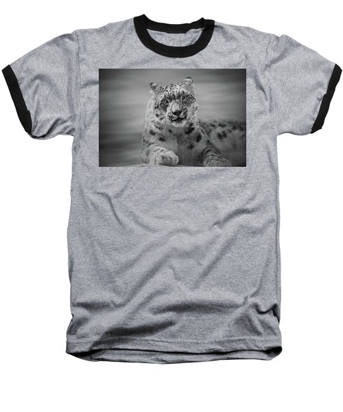 Baseball T-Shirt featuring the photograph Snow Leopard  Bw by Sandy Keeton