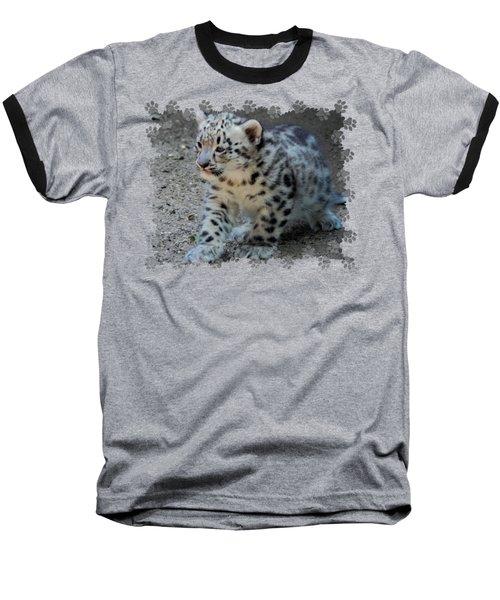 Snow Leopard Cub Paws Border Baseball T-Shirt