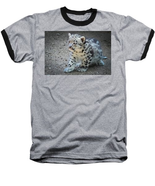 Snow Leopard Cub Baseball T-Shirt by Terry DeLuco