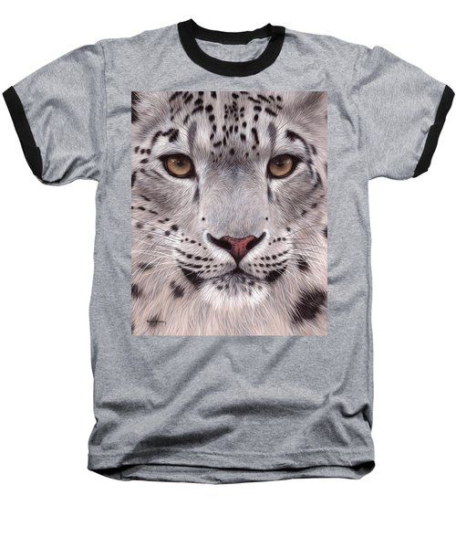 Snow Leopard Face Baseball T-Shirt
