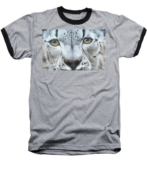 Baseball T-Shirt featuring the painting Snow Leopard by Mike Brown
