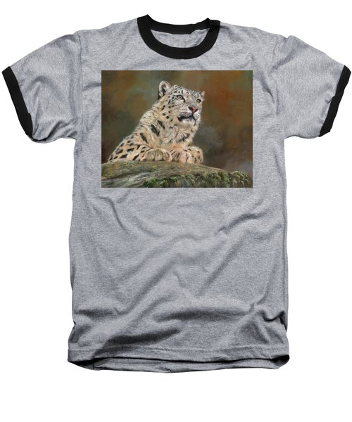 Snow Leopard On Rock Baseball T-Shirt by David Stribbling