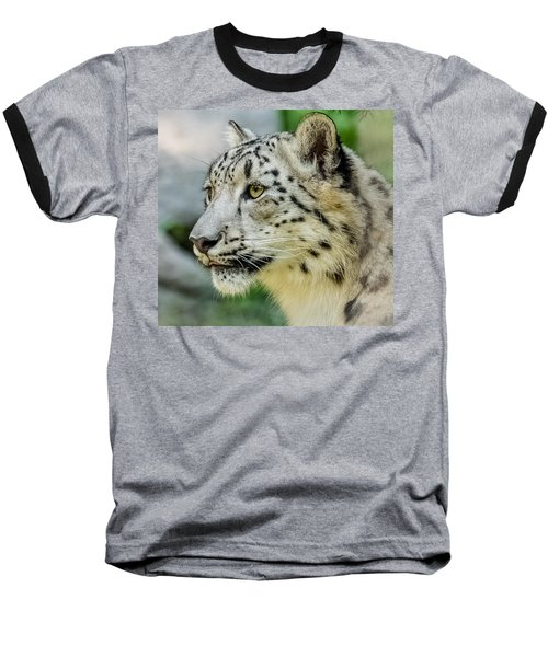 Snow Leopard Portrait Baseball T-Shirt