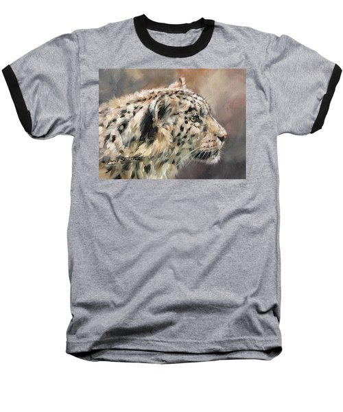 Baseball T-Shirt featuring the painting Snow Leopard Study by David Stribbling