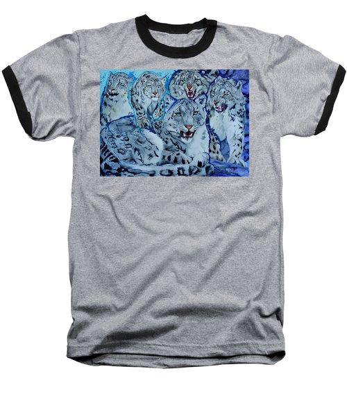 Snow Leopards Baseball T-Shirt by Raymond Perez