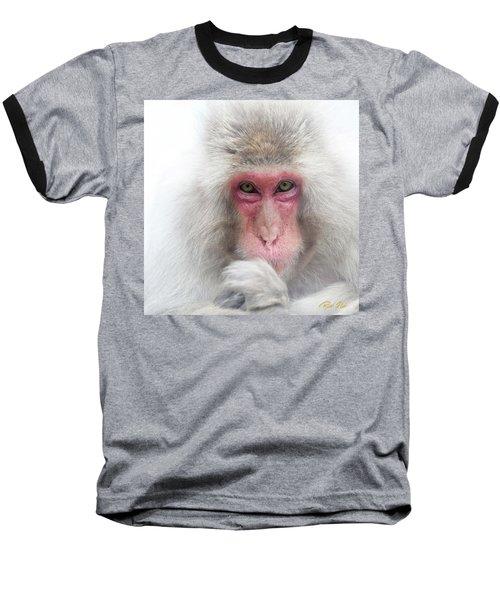Baseball T-Shirt featuring the photograph Snow Monkey Consideration by Rikk Flohr