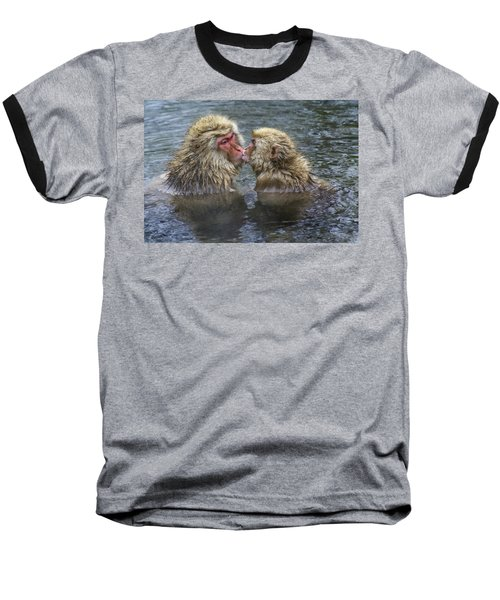 Snow Monkey Kisses Baseball T-Shirt