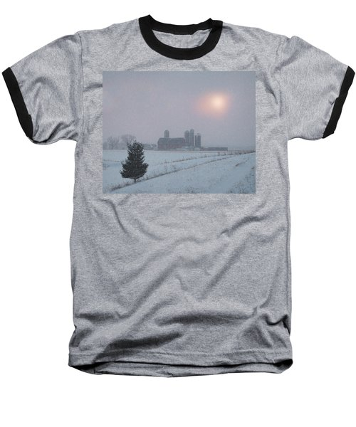 Baseball T-Shirt featuring the photograph Snow Muted Sunset by Judy Johnson
