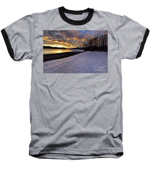 Snow On Beach Baseball T-Shirt