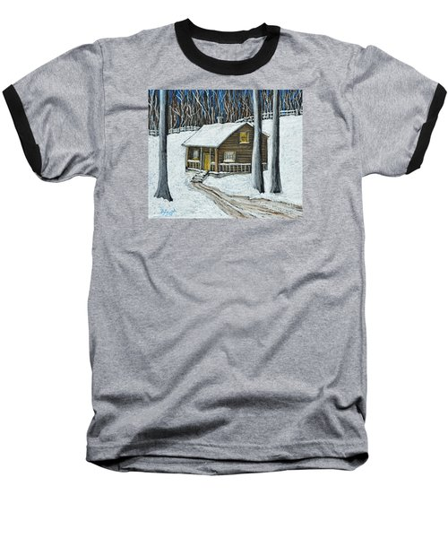 Snow On Cabin Baseball T-Shirt by Reb Frost