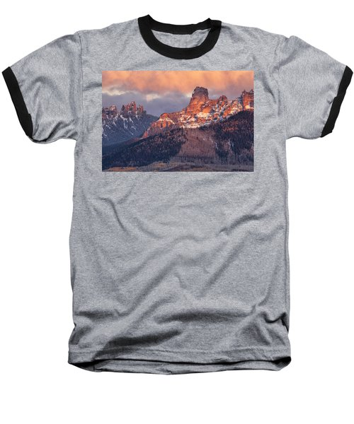 Snow On Chimney Rock Baseball T-Shirt