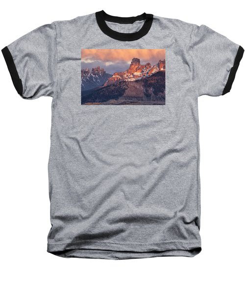 Snow On Chimney Rock Baseball T-Shirt