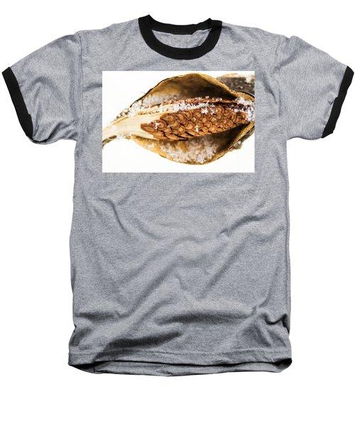 Snow On Milkweed Pod Baseball T-Shirt