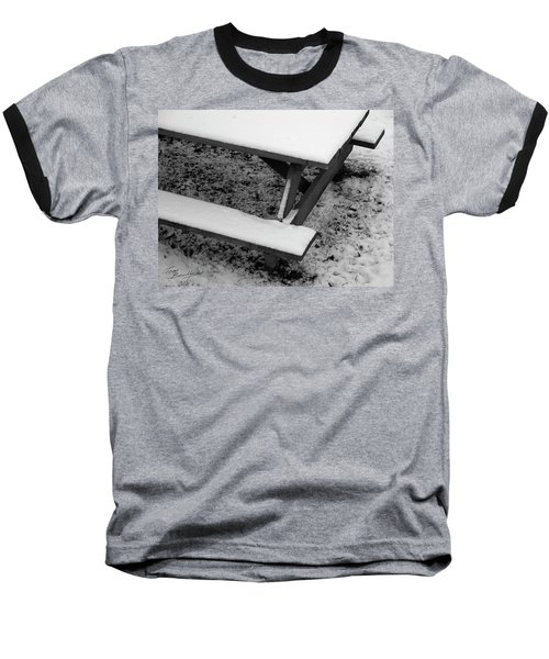 Snow On Picnic Table Baseball T-Shirt