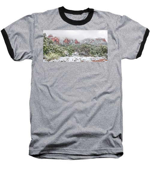 Snow On Red Rock Baseball T-Shirt