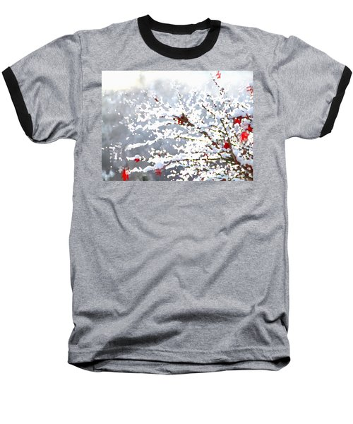 Baseball T-Shirt featuring the digital art Snow On The Maple by Shelli Fitzpatrick