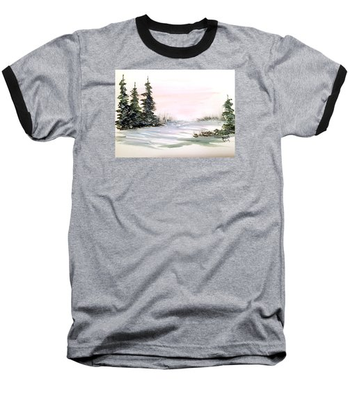 Snow Over The Pasture Baseball T-Shirt by Dorothy Maier