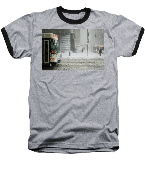 Baseball T-Shirt featuring the photograph Snow Storm Bus Stop by Stephen Holst