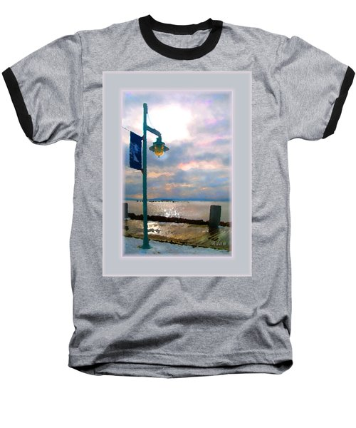 Snow Waterfront Park Walk Baseball T-Shirt by Felipe Adan Lerma
