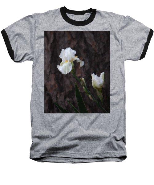 Snow White Iris On Pine Baseball T-Shirt