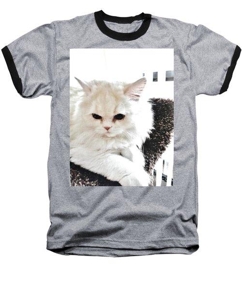 Snowball Is 92 Year Old Widows Cat Baseball T-Shirt by Marsha Heiken