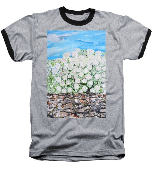 Baseball T-Shirt featuring the painting Snowballs Flowers by Evelina Popilian