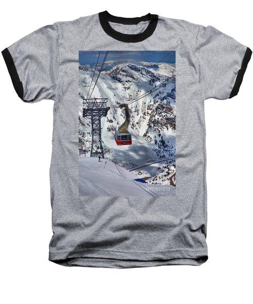 Snowbird Tram Portrait Baseball T-Shirt