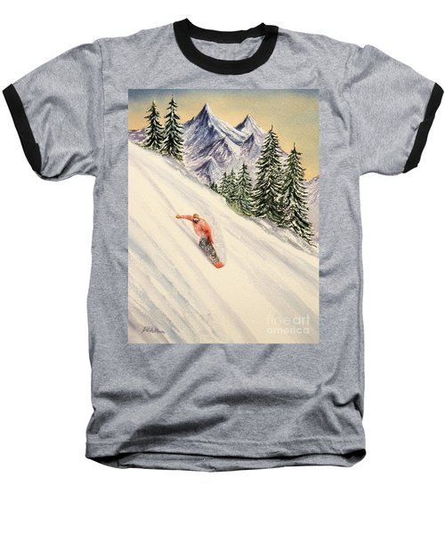 Baseball T-Shirt featuring the painting Snowboarding Free And Easy by Bill Holkham