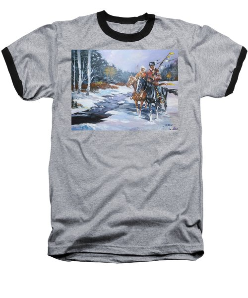 Snowbound Hunters Baseball T-Shirt by Al Brown