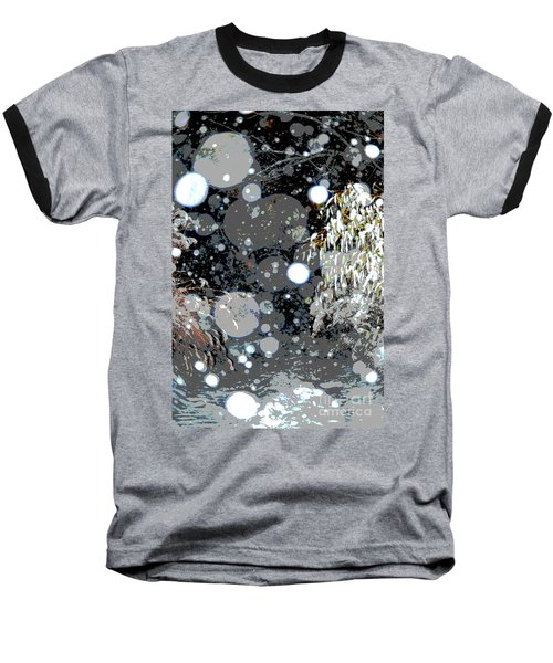 Snowfall Deconstructed Baseball T-Shirt by Li Newton