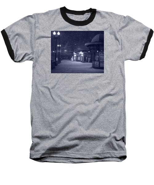 Snowfall In Harvard Square Cambridge Ma Kiosk Monochrome Blue Baseball T-Shirt