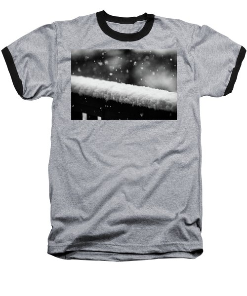 Snowfall On The Handrail Baseball T-Shirt by Jason Coward