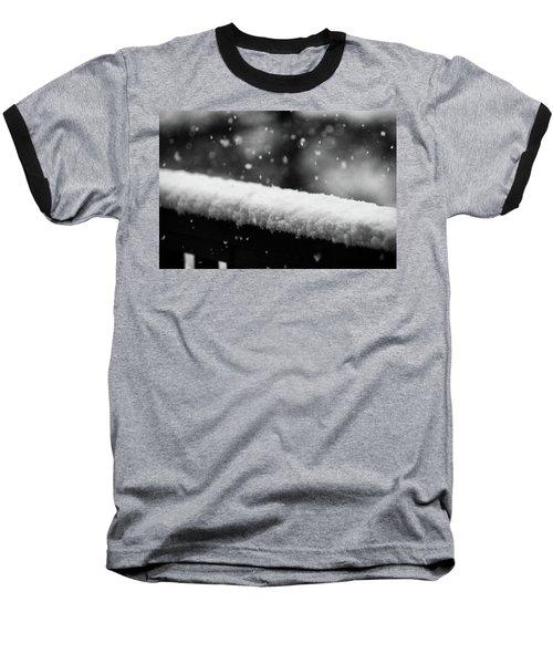 Snowfall On The Handrail Baseball T-Shirt