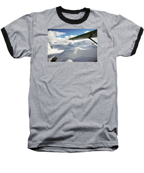 Snowfield Off Airplane Wing - Alaska Range Baseball T-Shirt