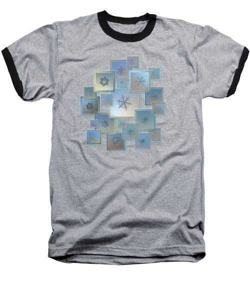 Snowflake Collage - Bright Crystals 2012-2014 Baseball T-Shirt by Alexey Kljatov