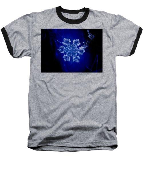 Snowflake On Blue Baseball T-Shirt