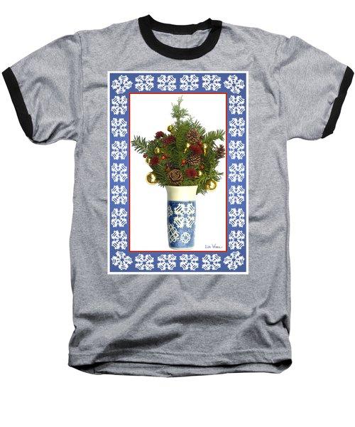 Baseball T-Shirt featuring the digital art Snowflake Vase With Christmas Regalia by Lise Winne