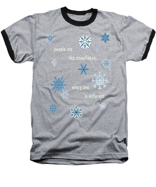 Snowflakes 5 Baseball T-Shirt by Methune Hively