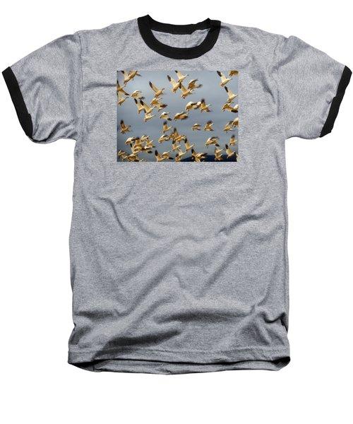 Snowgeese In Flight 2 Baseball T-Shirt by Karen Molenaar Terrell