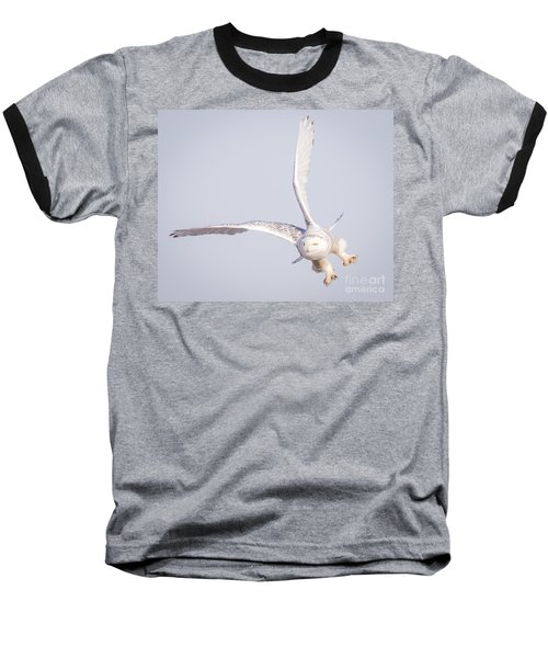 Snowy Owl Flying Dirty Baseball T-Shirt