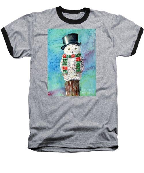 Snowman Owl Baseball T-Shirt by LeAnne Sowa