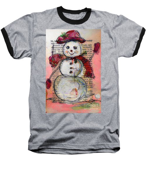 Snowman With Red Hat And Mistletoe Baseball T-Shirt