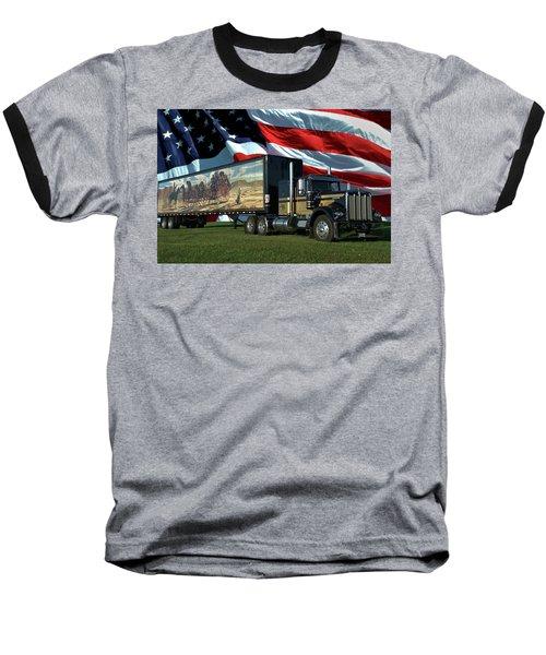 Snowmans Dream Semi Truck Baseball T-Shirt by Tim McCullough