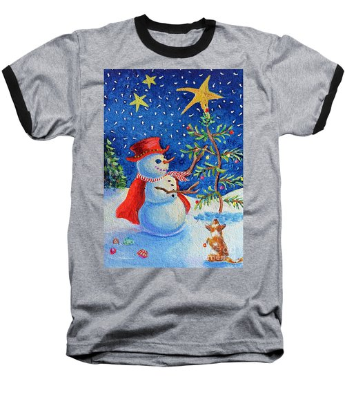 Baseball T-Shirt featuring the painting Snowmas Christmas by Li Newton