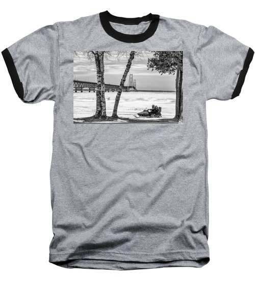 Baseball T-Shirt featuring the photograph Snowmobile Michigan Black And White  by John McGraw